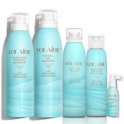 Volume + Styling Deluxe System, 5 Piece Kit - Weightless Volumizing Shampoo 4 oz, Fortifying Conditioner 3.5 oz, Uplift Volumizing Mist 2 oz, Flexihold Hairspray 2 oz & Liftoff Dry Shampoo 2 oz