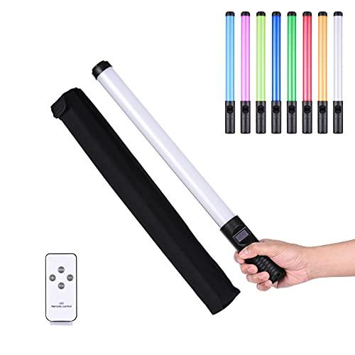 Docooler Varita de luz Colorida RGB portátil de 20 vatios Luz LED para fotografía Bi-Color Temperatura 3000K-6500K Brillo Regulable 0% -100% CRI > 85 con múltiples Efectos Especiales de iluminación