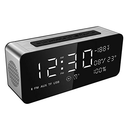 QUWN Multifunctionele Bluetooth-luidspreker met dual alarm, luidspreker, thermometer, FM-radio, groot display met helderheid en subwoofer