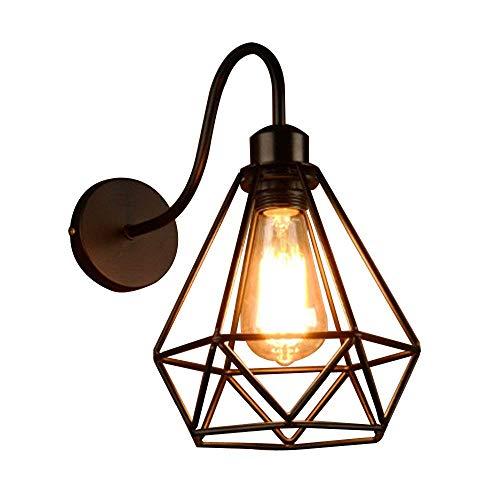 Apliques de Pared Vintage Jaula Lámpara Industrial Lámpara de Pared,Casquillo E27,Color Negro,Metal...