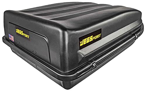 JEGS Rooftop Cargo Carrier | Hard Car Top Large Luggage Box | Waterproof Storage | Heavy Duty Solid Case | Made in USA | 18 Cubic Ft. | 100 Lb. Capacity | Zero Tool Easy Assembly | Aerodynamic Design