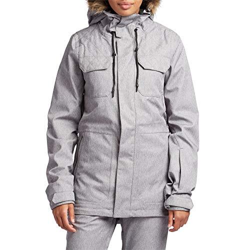 Volcom Women's Shadow Insulated Snowboard Ski Winter Hooded Jacket, Heather Grey, Small