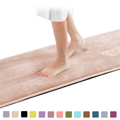 Genteele Memory Foam Bath Mat Non Slip Absorbent Super Cozy Velvet Bathroom Rug Carpet (60 inches X 17 inches, Beige)