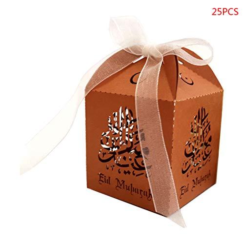 RG-FA Lot de 25 boîtes à bonbons creuses avec ruban bronze