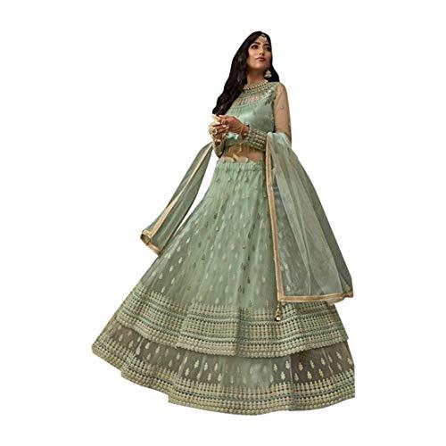 SHRI BALAJI SILK & COTTON SAREE EMPORIUM Minzgrün muslimischer festlicher indischer Bollywood Designer Netzrock Lehenga-Stil Frauen Anarkali Anzug 9512