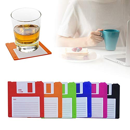 Floppy Silicone Disk Coasters,Durable, Heat-Resistant, Retro Writing Coasters,Novelty Floppy Disk Silicone Disk Drink Drink Coasters, Multicolored, Set of 6 (3.7', Square, 1/8'Thick)