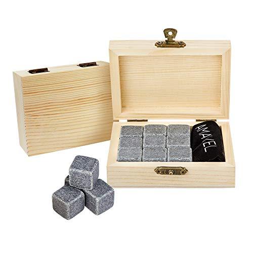 AMAVEL Whiskysteine in edler Holzbox – Standard – 9 geschmacksneutrale Kühlsteine für Whisky inkl. Aufbewahrungsbox – Wiederverwendbare Eiswürfel aus Granit – Originelle Geschenk-Idee für Männer - 4