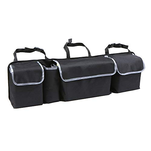 KUANDARMX Durable Organizador de Maletero, Negro, Oxford 600 D Tejido, Bolso para Maletero, Bolsillos Velcro y Soporte para Botellas, Lavable Regalo