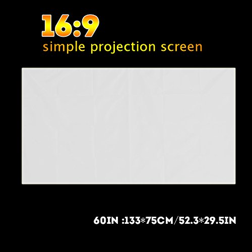 Projectorscherm, 60 inch 16: 9 draagbaar opvouwbaar projectiescherm Home Theatre-projector Gordijn PVC-stoffen films Scherm voor projector Home Theatre Binnen/buiten Achtertuin (60 inch)