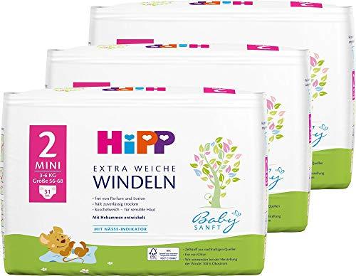 Hipp Babysanft Windeln Carry Größe 2 (Mini, 3-6 kg), 3x31 Stk.(93 Stück)