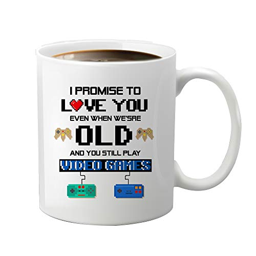 JioJio CHAN Funny Gamer Gifts I Promise to Love You When You're Old Still Play Video Games Nerdy Wedding Gift, Christmas, Valentine, Birthday, Anniversary, Halloween, Funny Coffee Mug, 11 oz