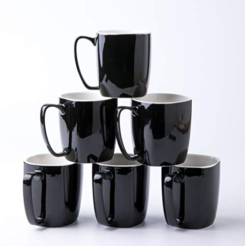 Amuse- Professional Porcelain Bistro Collection Daily Mugs- Set of 6-14 oz (Classic Black)