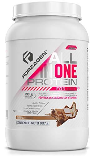 Forzagen Proteína Importada para Mujer All in One Protein for Her | Proteina de Suero de Leche (Whey Protein) + Péptidos de Colágeno | 2 lb (907 g) | 30 Servicios x Envase | Delicioso Sabor a Chocolate | 20 g de Proteína por Servicio | Ácido Hialurónico | Ácido Fólico | Ácido Ascórbico (Vitamina C) | MCT Oil | Extracto de Semilla de Uva | Extracto de Té Verde | Extracto de Café Verde | Bajo en Carbohidratos | Sin Azúcar Añadida | Bebida Pre-Post-Intra Entrenamiento | Fácil y Rápida Preparación