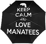 Paraguas automático de tres pliegues, con diseño de manatee con texto en inglés 'Keep Calm Love Manatee'
