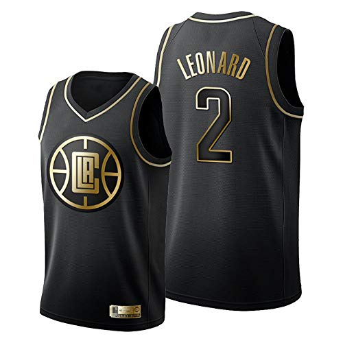Camisetas De Baloncesto De Los Hombres, NBA Los Angeles Clippers # 2 Kawhi Leonard - Chaleco Transpirable Uniformes Classic Comfort Camiseta Sin Mangas Tops Sportswear,Negro,L(175~180CM)