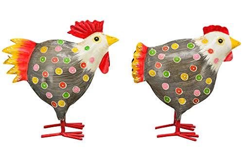 Exner dekorativer Deko-Hahn Deko-Huhn Garten-Deko Metall bemalt Preis für 2 Stück 4 Farben zur Auswahl (grau)