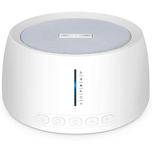 Portable White Noise Machine, Compact Sleep Sound Therapy with Earphone Jack, 30 Soothing Sounds, 32 Volume Levels, Timer & Memory Feature, Sound Machine for Home Office Travel Seniors Adults,White