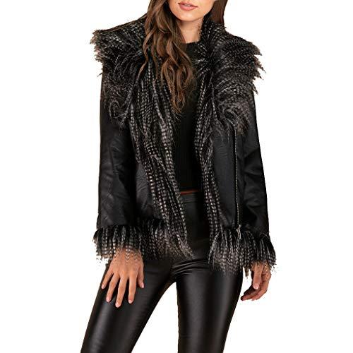 Plot Damen Lederjacke Schwarz mit Faux Pelz Winterjacke Übergangsjacke Kurz Winter Jacken Kurzjacke Outwear Coat