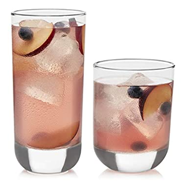 Libbey Polaris Tumbler and Rocks Glasses, Set of 16