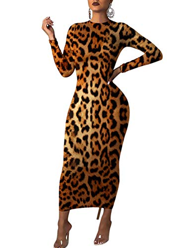 Rela Bota Women's Long Sleeve Leopard Print Tunic Bodycon Long Midi Pencil Dress Brown XXL