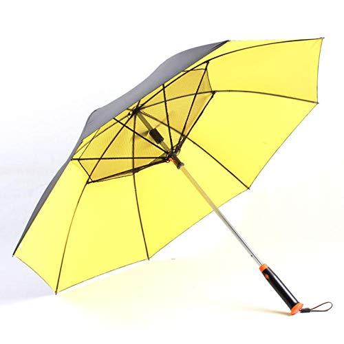 Ventilador con pulverizador, parasol de verano, protección solar, paraguas con protección UV, ventilador integrado y pulverizador, para luz solar y día lluvioso
