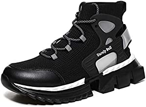 GSLMOLN Men's Walking Shoes Running Shoes Socks Platform Fashion Mesh Sneakers Young Athletic Gym Casual Loafers Dance Hip-hop Shoes Black 46