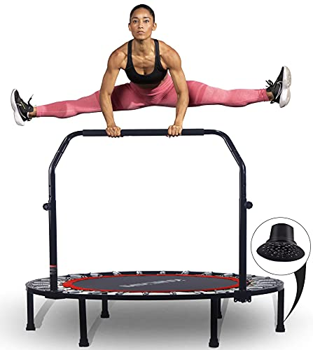 """Kanchimi 40"""" Folding Mini Trampoline for Kids,Fitness Rebounder with Adjustable Foam Handle,Outdoor Indoor Trampoline for Kids and Adults Workout Max Load 330lbs"""