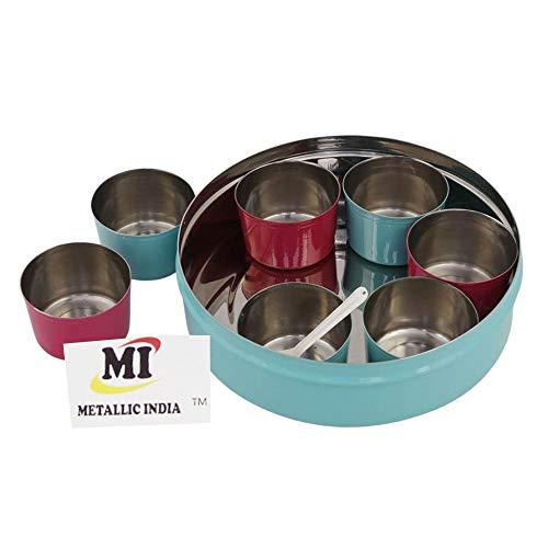 Caja de especias metálica India hecha de acero inoxidable Masala para especias Masala Dabba, contenedor con tapa de cristal, 7 compartimentos con 1 cuchara, color azul