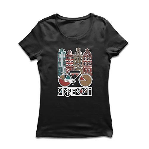lepni.me Camiseta Mujer Bicicleta Vintage de la Ciudad de Ámsterdam, Holanda, Viajes de Vacaciones