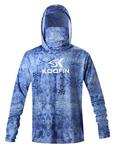 Performance Fishing Hoodie with Face Mask Hooded Sunblock Shirt Sun Shield Long Sleeve Shirt, Light Blue, 3XLarge