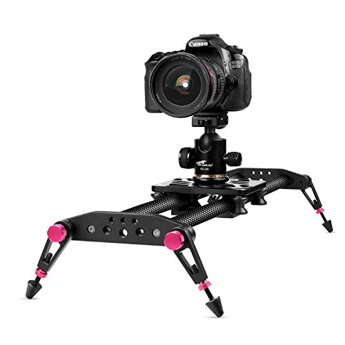 TNP 40 inches / 100cm Camera Slider for DSLR, Carbon Fiber Dolly Track Video Stabilizer Rail System with 26.5lbs / 12kg Loading, 6 Roller Bearing for Cinematic Film Video Footage Studio Photography