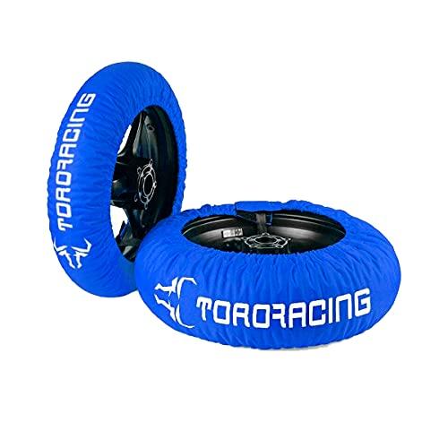 """Toro Racing Calentadores de Neumáticos para Moto DRURY (120-190) -17"""" – Cubierta Delantera de 120 y Trasera de 160/180/190/200, Enchufe 220 V Temperatura única, Motocross, Supermotard (Azul/Blanco)"""