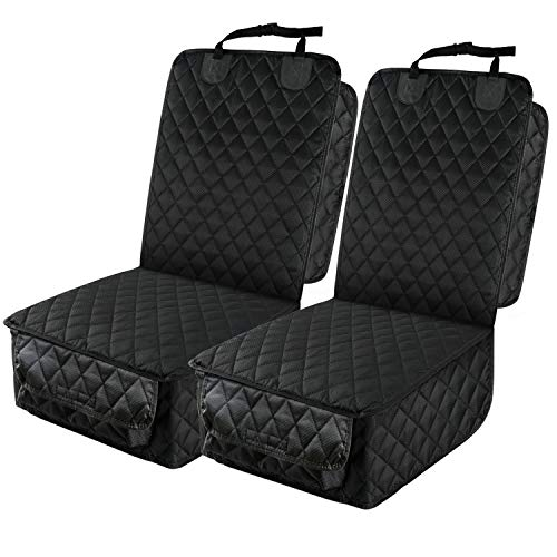 PETICON Waterproof Front Seat Car Cover, Full Protection Dog Car Seat Cover with Side Flaps, Nonslip Scratchproof Captain Chair Seat Cover Fits for Cars, Trucks, SUVs, Jeep
