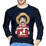 Lu-Ffy - Camiseta de manga larga para hombre, estilo informal, 100% algodón, cuello redondo, manga larga, cómoda y de impresión, azul marino, L