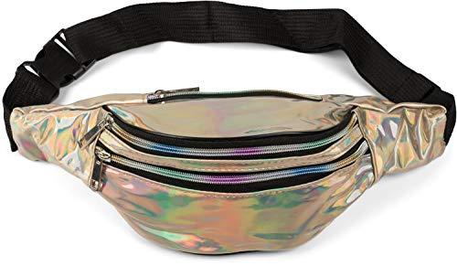 styleBREAKER Damen Bauchtasche in irisierender Metallic Optik, Verstellbarer Gurt, Gürteltasche, Hüfttasche 02012323, Farbe:Hellgold metallic