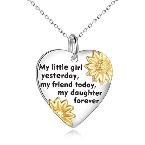 YFN Daughter Birthday Jewellery Gifts from Mum Dad for Daughter Sterling Silver Sunflower Love Heart Pendant Necklace Graduation Gifts for Girls (silver-daughter necklace)