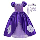Disfraz de princesa Rapunzel para niñas, vestido de fiesta de tul con accesorios (morado B, 4 años)