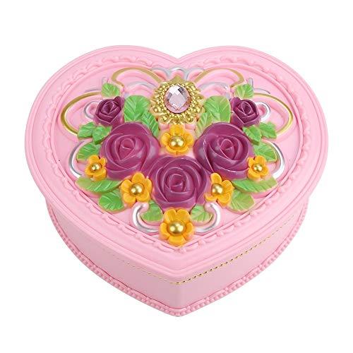 Spieluhren für Mädchen, herzförmige Spieluhr für Mädchen mit Spiegel, Miniatur 360 Grad Rotary Girl und Schmuck-Speicher-Funktions-Baby-Spielzeug
