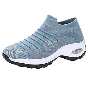 YWLINK Zapatillas De Mujer Talla Grande Zapatos De Punto Transpirables De Malla Casual Mocasines con Plataforma Antideslizante Zapatos De Sacudida Zapatos De Trekking MontañIsmo Deportes Aire Libre