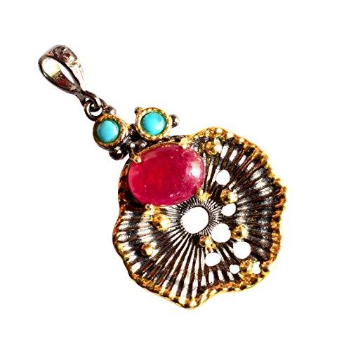 Colgante de plata de ley 925 con rubí y turquesa para compromiso, boda, aniversario, joyería de novia para mujer