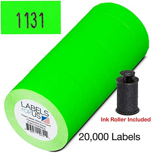 Labels for Monarch 1131 Labeler - Green - 20,000 Labels - Pack with 8 Rolls - Ink Roller Included - Made and Delivered by Labels for Us