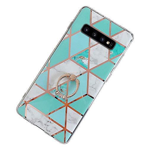Herbests Kompatibel mit Samsung Galaxy S10e Hülle Bunt Marmor Muster TPU Silikon Handyhülle Glänzend Bling Glitzer Diamant Strass Ring Halter Ständer Crystal Case Tasche Schutzhülle,Grün