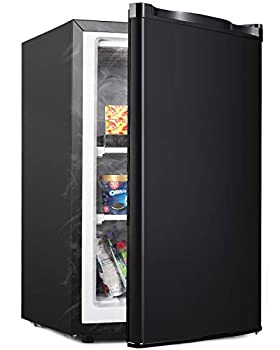 Coollife Upright Freezer -Compact Reversible Single Door Table Top Mini Freezer - Free Standing portable small freezer Machine for Office Dorm/Living Room/Apartment  3.0 Cubic Feet Black