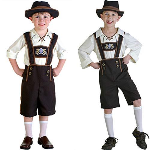 RONSHIN Kinder Mädchen Junge Mode Oktoberfest Kellner Kellnerin Cosplay Kostüm Dirndl/Lederhose/Bluse Hemd Junge braunes Bier M
