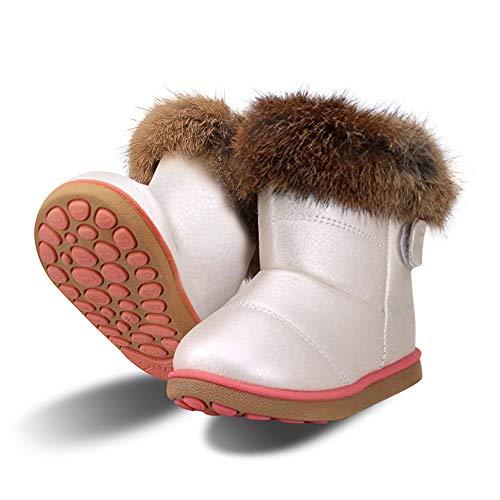 Baby Mädchen Schneestiefel Warme Weiche Winterschuhe Stiefel Winterstiefel mit Baumwolle Gefüttert Leder für Kinder Girls, 25 EU (Größe 27 CN), Weiß