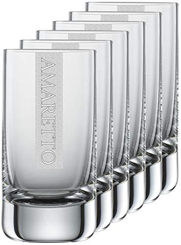 Miriquidi Amarettogläser 6er Set Serie Cool mit Gravur Amaretto   auf 5cl Schott Zwiesel Convention Nr. 35 Glas   Spülmaschinenfest   Amarettoglas mit Lasergravur 6 Stück