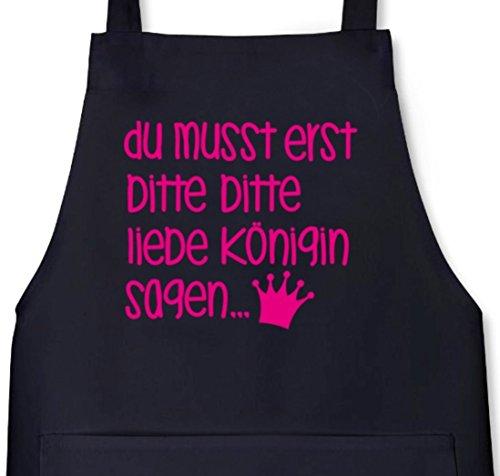 Shirtstreet24, Bitte bitte liebe Königin, Grillen Barbecue Grill Schürze Kochschürze Latzschürze, Größe: onesize,Schwarz