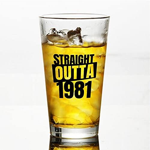 Straight Outta 1981 - Vasos de cerveza personalizados, vaso de cerveza de pinta de 16 onzas para día de la independencia, papá, mamá, marido, esposa, padrino.