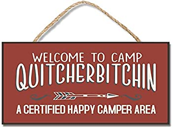 Personalized Wood Plaque with Hanger Funny Sayings for Camper Welcome to Camp Hanging Wooden Signs for Home Decor Art Crafts for Outdoor Decoration  10x5  BW704