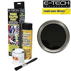 E-Tech Bremssattellack,Schwarz, komplettes Set inklusive Farbe, Reinigungsmittel und Bürste